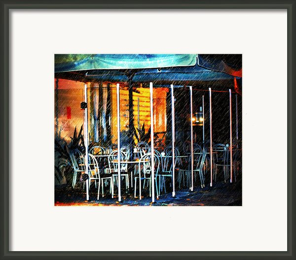 Empty Chairs And Empty Tables Framed Print By Zeana Romanovna