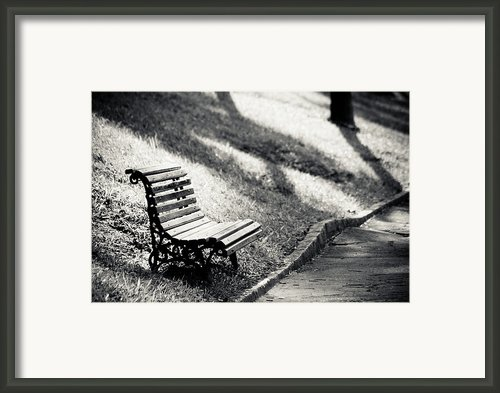 Empty Park Bench On Edge Framed Print By (c) Conrado Tramontini