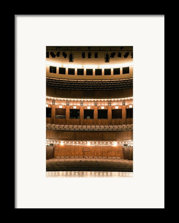 Empty Seating In An Art Deco Theater Framed Print By Adam Burn