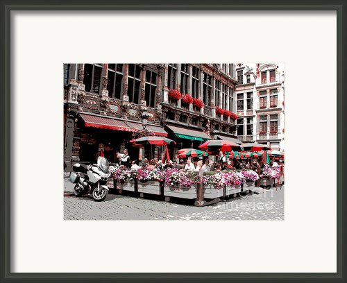 Enjoying The Grand Place Framed Print By Carol Groenen