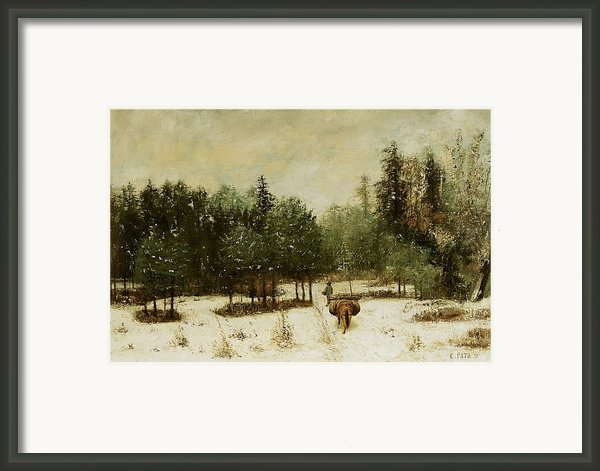 Entrance To The Forest In Winter Framed Print By Cherubino Pata