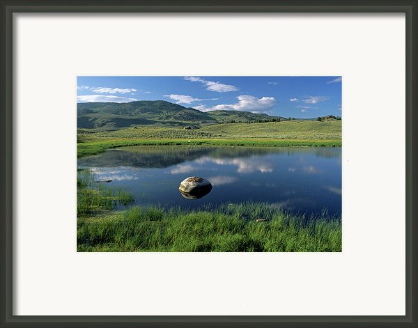 Erratic Boulder And Small Pond In Lamar Valley Framed Print By Altrendo Nature