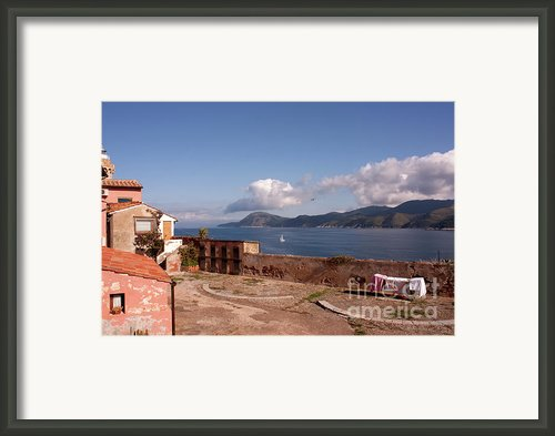 Esplanade Above The Sea Fort Stella Portoferraio Elba Island Framed Print By Corina Daniela Obertas