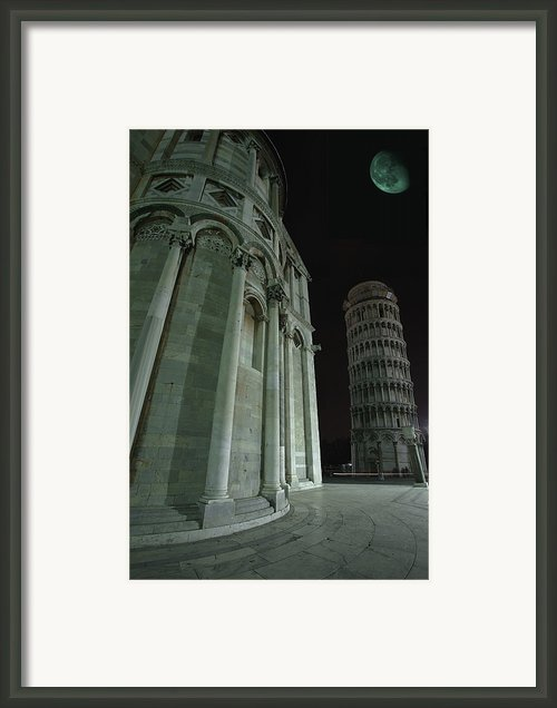 Ethereal Moonlight Scene Of Duomo Santa Framed Print By Carson Ganci