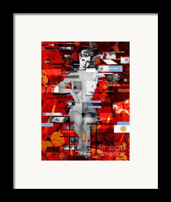 Eva Peron Nude En Rouge Framed Print By Karine Percheron-daniels
