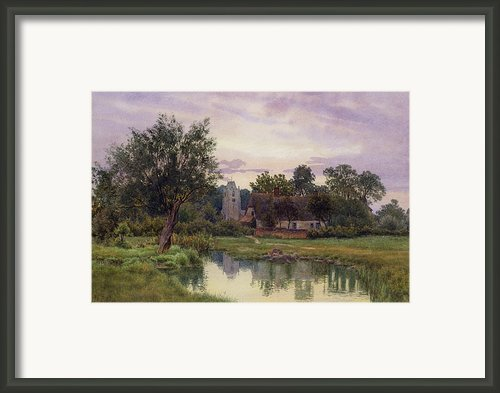Evening At Hemingford Grey Church In Huntingdonshire Framed Print By William Fraser Garden