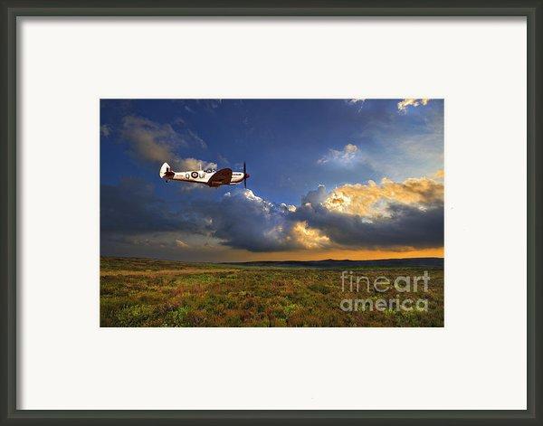 Evening Spitfire Framed Print By Meirion Matthias