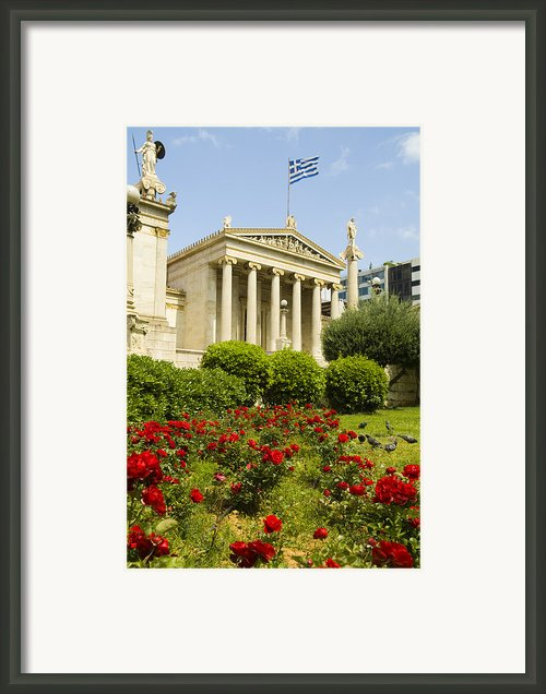 Exterior Of The Athens Academy, Greece Framed Print By Richard Nowitz