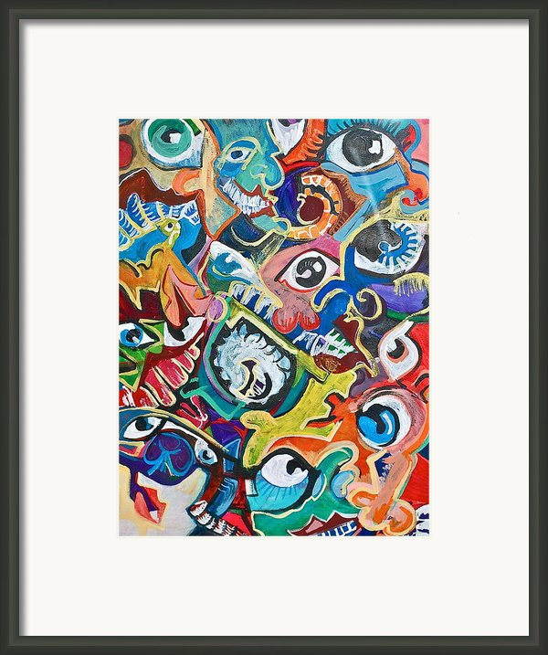 Faces In A Crowd Framed Print By Jame Hayes