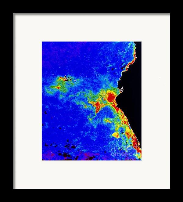 Fal-col Satellite Image Of Coastal Framed Print By Dr. Gene Feldman, Nasa Goddard Space Flight Center