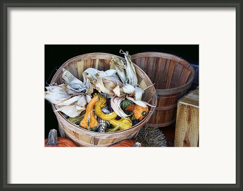 Fall Festive Basket Framed Print By Linda Phelps