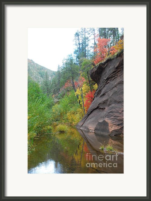 Fall Peeks From Behind The Rocks Framed Print By Heather Kirk