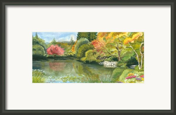 Fall Reflections Butchart Gardens Framed Print By Vidyut Singhal