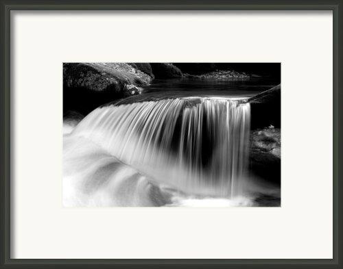 Falling Water Black And White Framed Print By Rich Franco