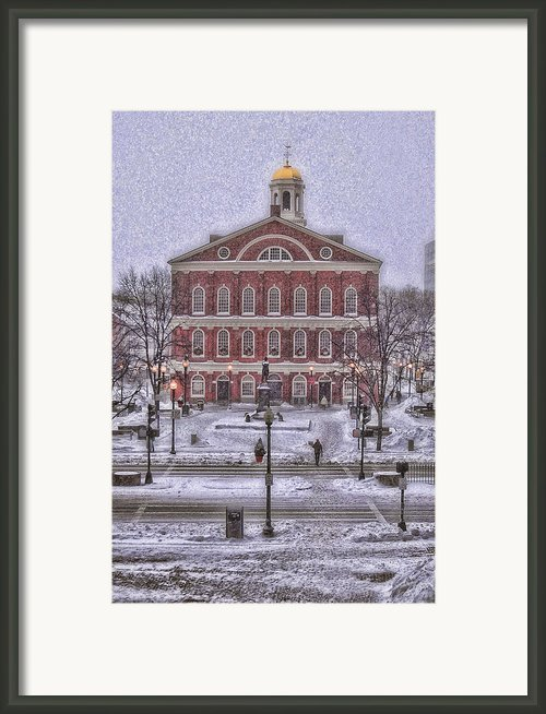 Faneuil Hall Snow Framed Print By Joann Vitali