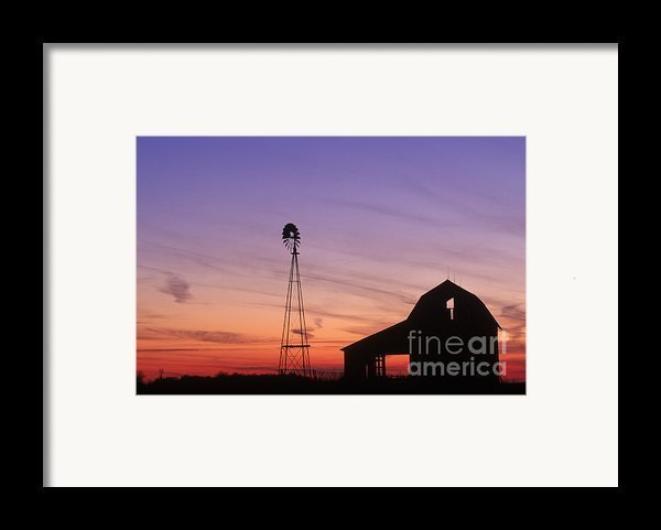 Farm At Sunset Framed Print By David Davis And Photo Researchers
