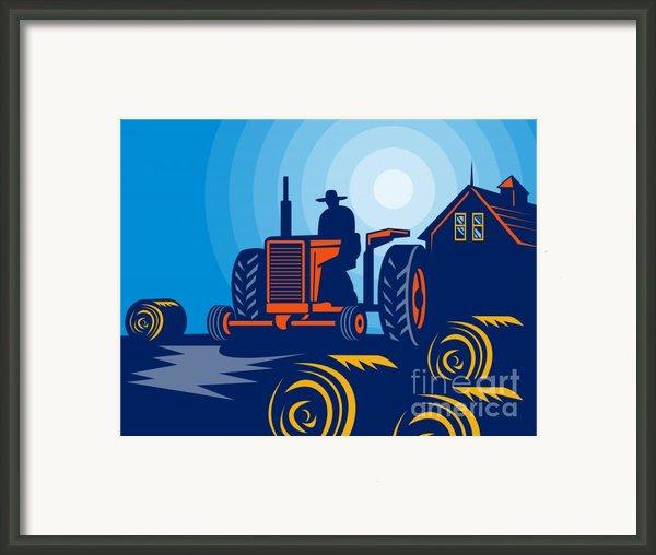 Farmer Driving Vintage Tractor Framed Print By Aloysius Patrimonio