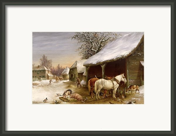 Farmyard In Winter  Framed Print By Henry Woollett