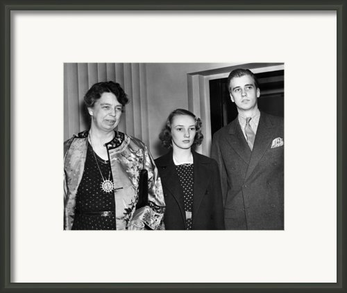 Fdr Presidency. From Left First Lady Framed Print By Everett