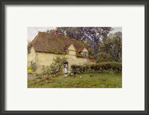 Feeding The Fowls Framed Print By Helen Allingham