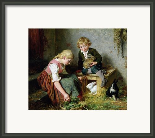 Feeding The Rabbits Framed Print By Felix Schlesinger