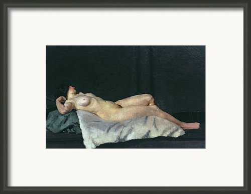 Female Figure Lying On Her Back Framed Print By Dora Carrington