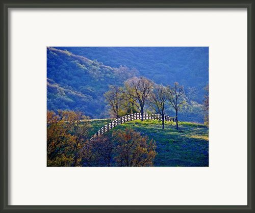Fence On Hill Framed Print By Rany Lutz