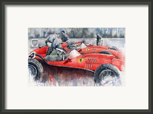 Ferrari Dino 246 F1 1958 Mike Hawthorn French Gp  Framed Print By Yuriy  Shevchuk