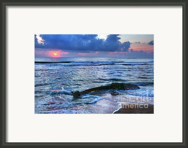 Final Sunrise - Beached Boat On The Outer Banks Framed Print By Dan Carmichael
