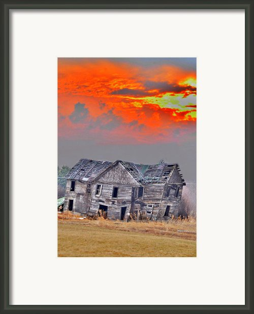 Fire Behind The Abandoned Framed Print By Emily Stauring