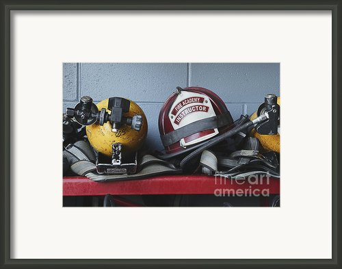 Fireman Helmets And Gear Framed Print By Skip Nall