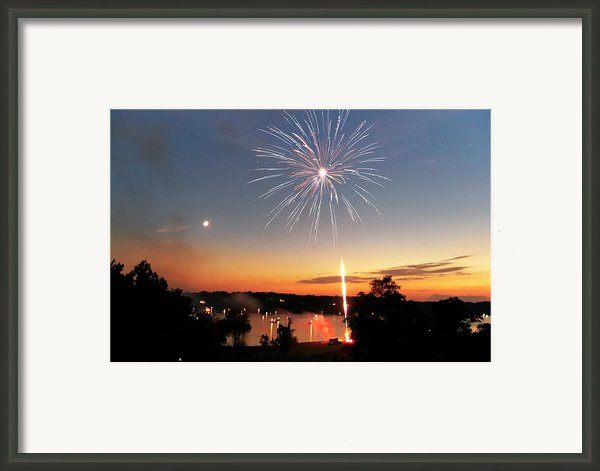 Fireworks And Sunset Framed Print By Amber Flowers