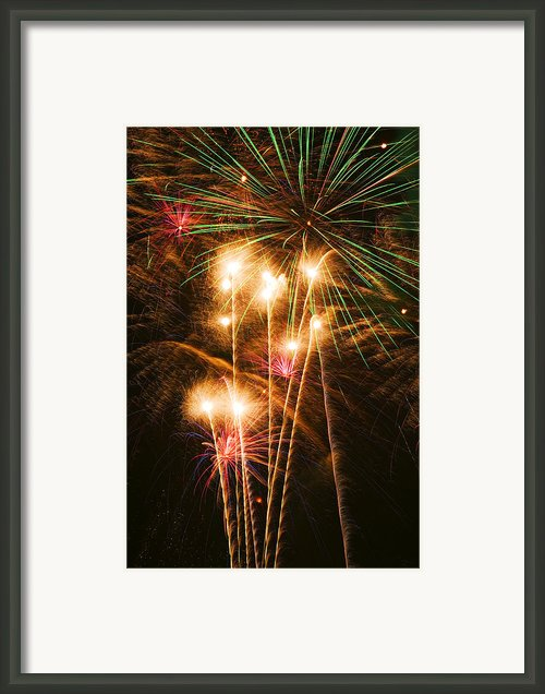 Fireworks In Night Sky Framed Print By Garry Gay