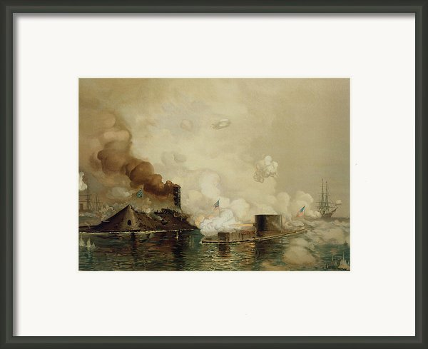First Fight Between Ironclads Framed Print By Julian Oliver Davidson