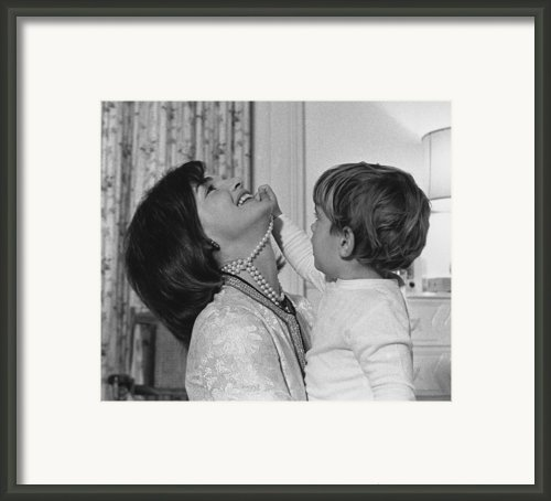 First Lady Jacqueline Kennedy Laughs Framed Print By Everett
