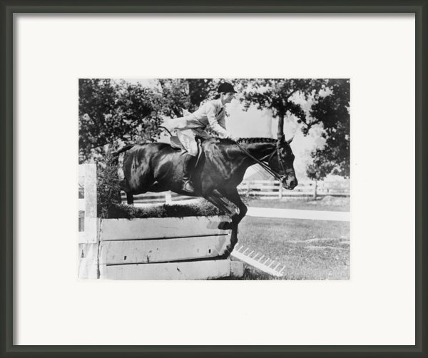 First Lady Jacqueline Kennedy, Riding Framed Print By Everett