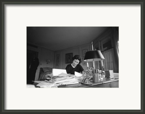 First Lady, Lady Bird Johnson, Working Framed Print By Everett