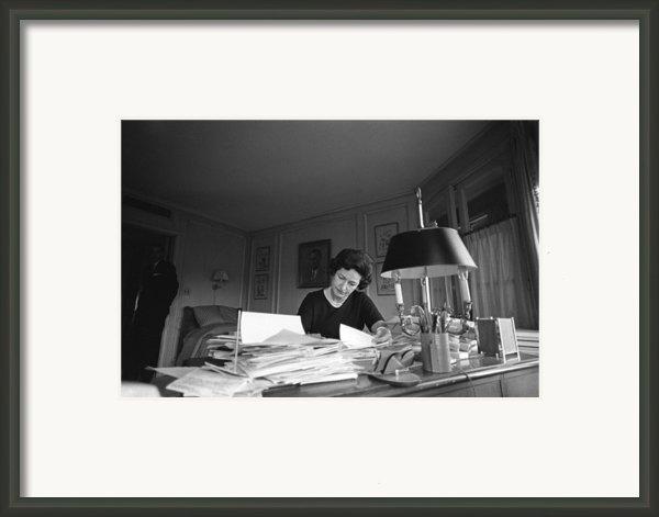 First Lady, Lady Bird Johnson, Working Framed Print By Everett