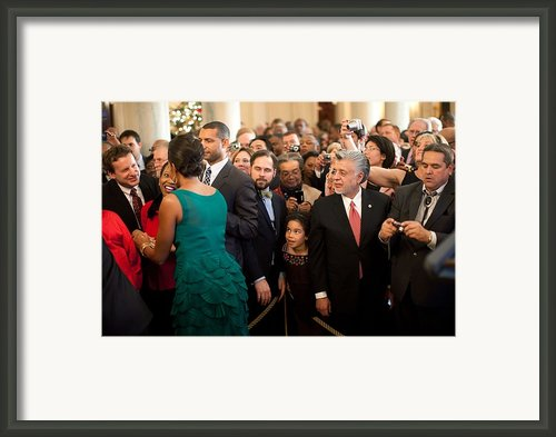 First Lady Michelle Obama Greets Guests Framed Print By Everett