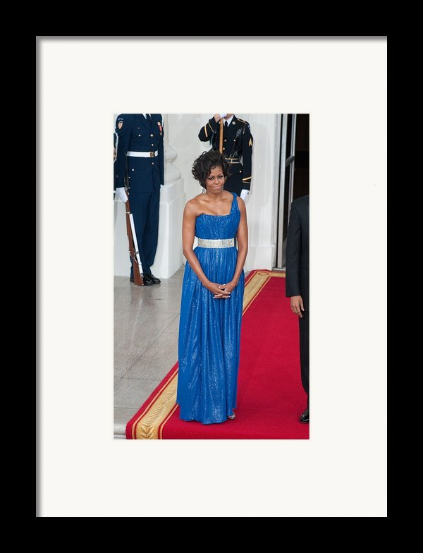 First Lady Michelle Obama Wearing Framed Print By Everett