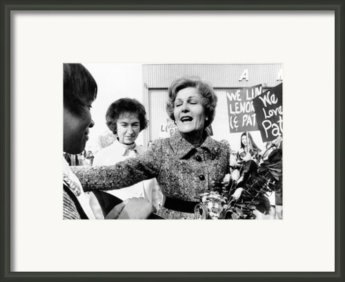 First Lady Pat Nixon Visiting Detroit Framed Print By Everett