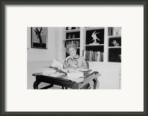 First Lady Pat Nixon Working At A Small Framed Print By Everett
