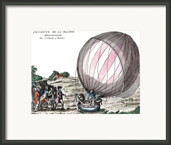 First Manned Hydrogen Balloon Flight Framed Print By Photo Researchers