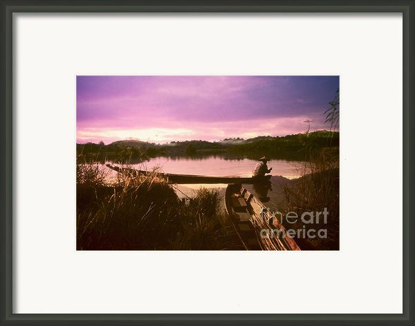 Fisherman Life In Twilight Framed Print By Setsiri Silapasuwanchai