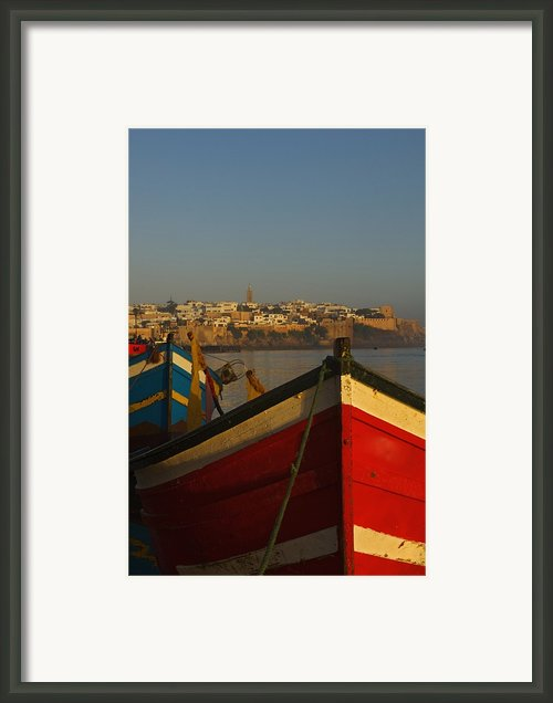 Fishing Boats In Front Of Kasbah Des Framed Print By Axiom Photographic