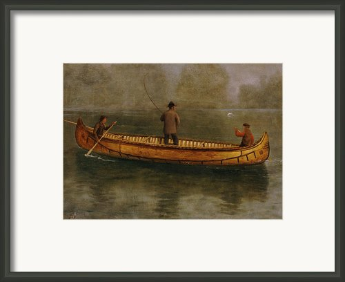 Fishing From A Canoe Framed Print By Albert Bierstadt
