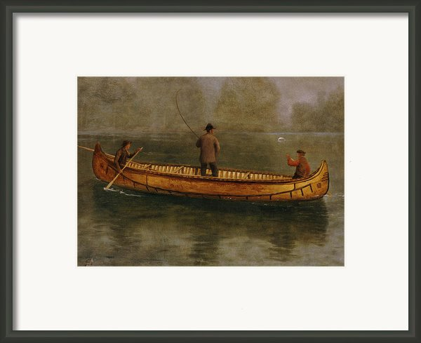Fishing From A Canoe Framed Print By Albert Bierstadt