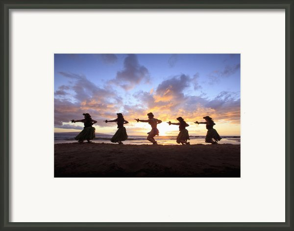 Five Hula Dancers At Sunset At The Beach At Palauea Framed Print By David Olsen