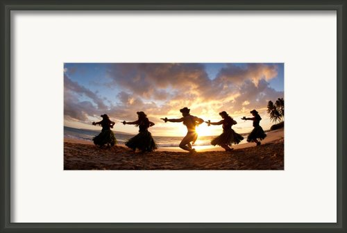 Five Hula Dancers On The Beach Framed Print By David Olsen