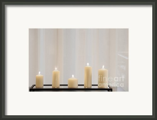 Five White Lit Candles Framed Print By Andersen Ross